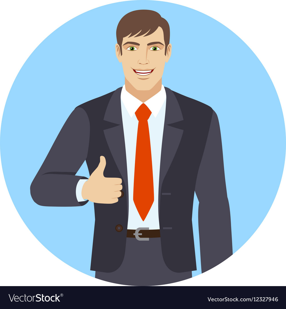 Smiling businessman shows thumb up vector image