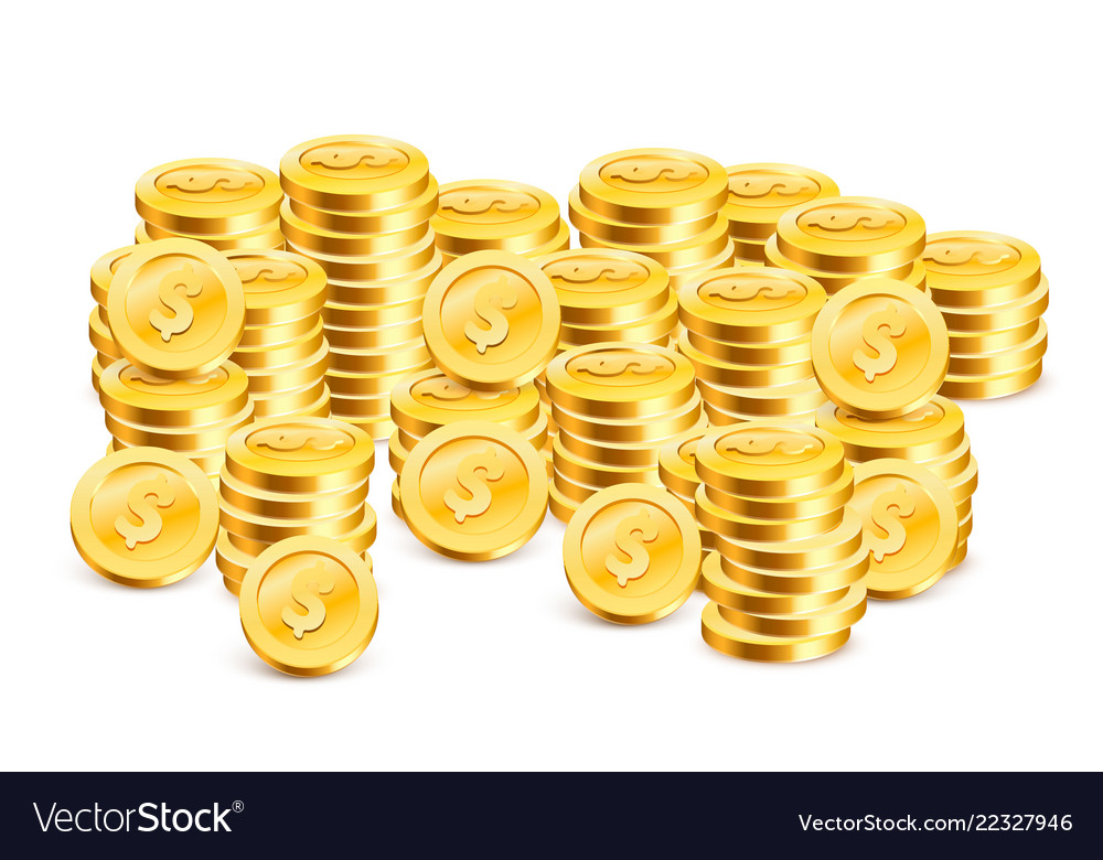 Stacks of coins on the white background
