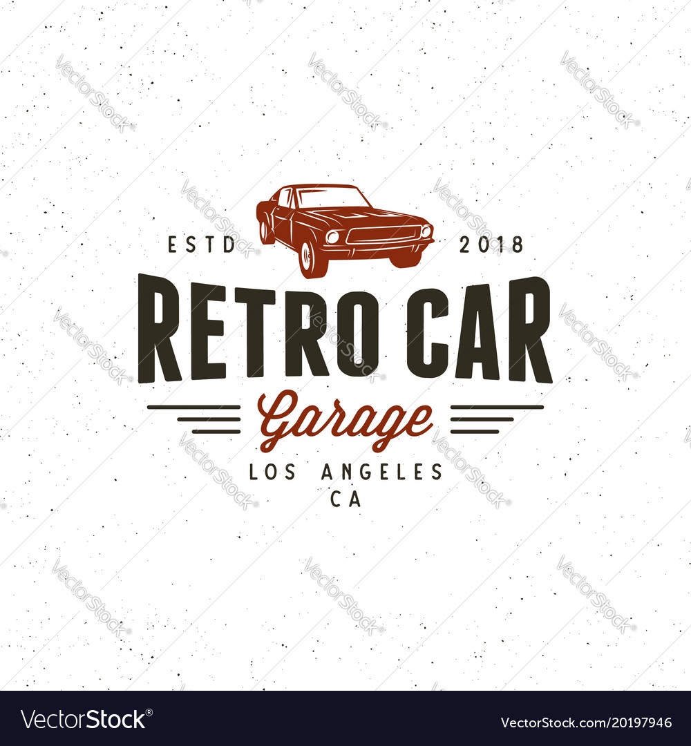 Vintage Muscle Car Garage Logo Royalty Free Vector Image