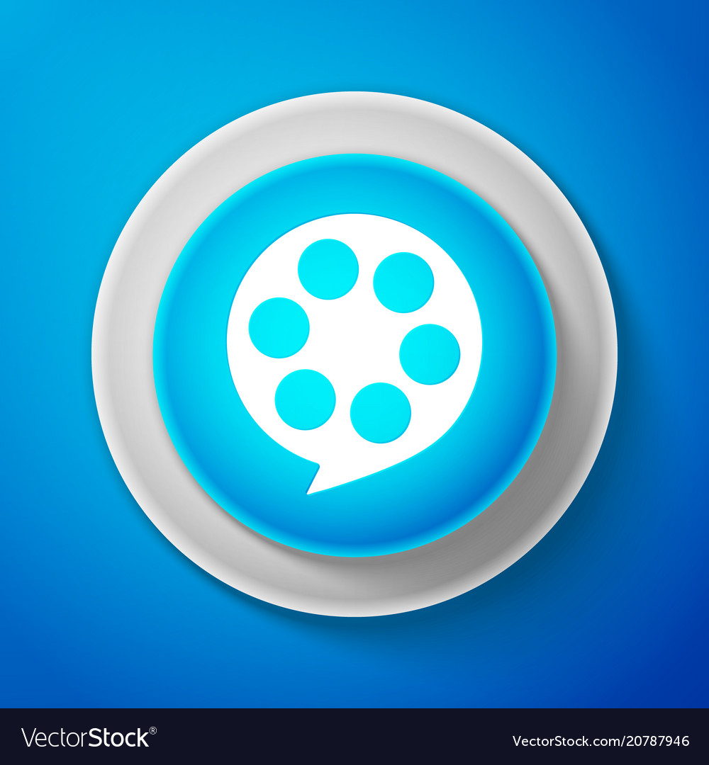 White film reel icon isolated on blue background
