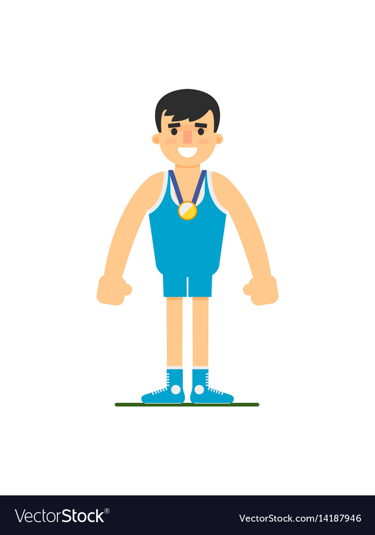 Young wrestler in sports uniform vector image