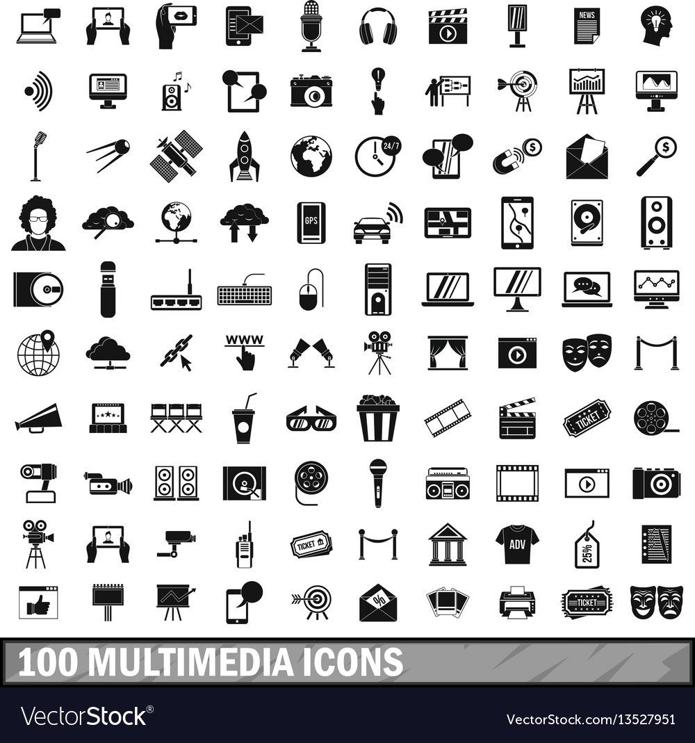 100 multimedia icons set in simple style