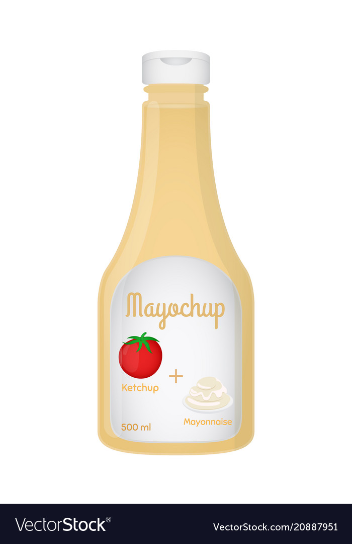 3d realistic bottle with mayochup sauce
