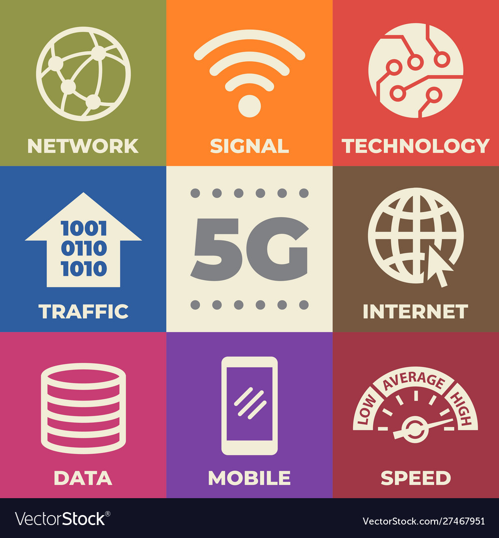 5g concept with icons and signs