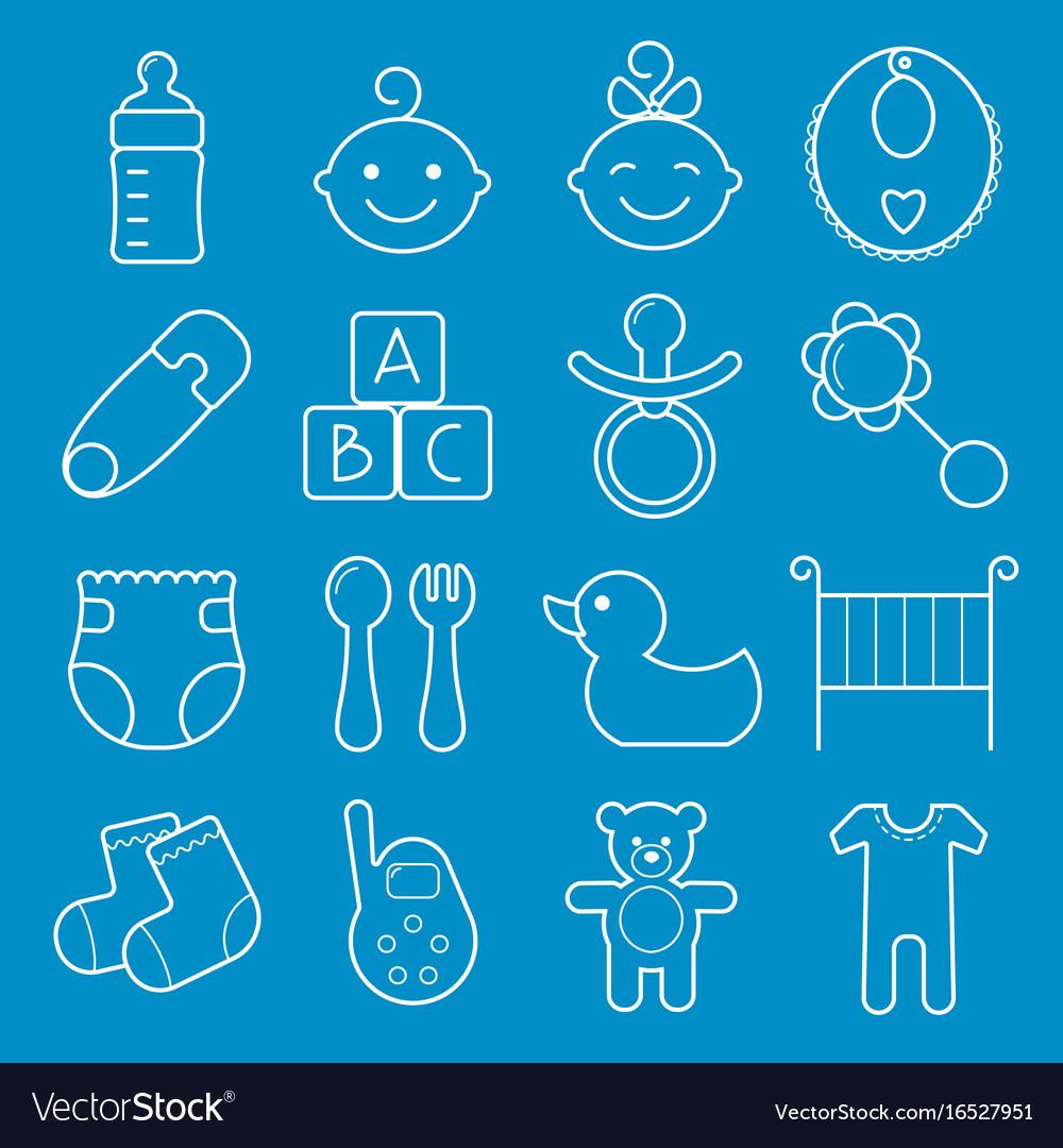 Baby icons set isolated on blue background