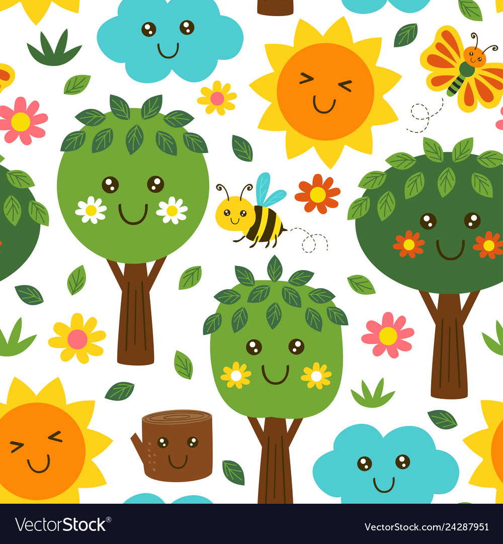 Basic rgbseamless pattern with forest kawaii