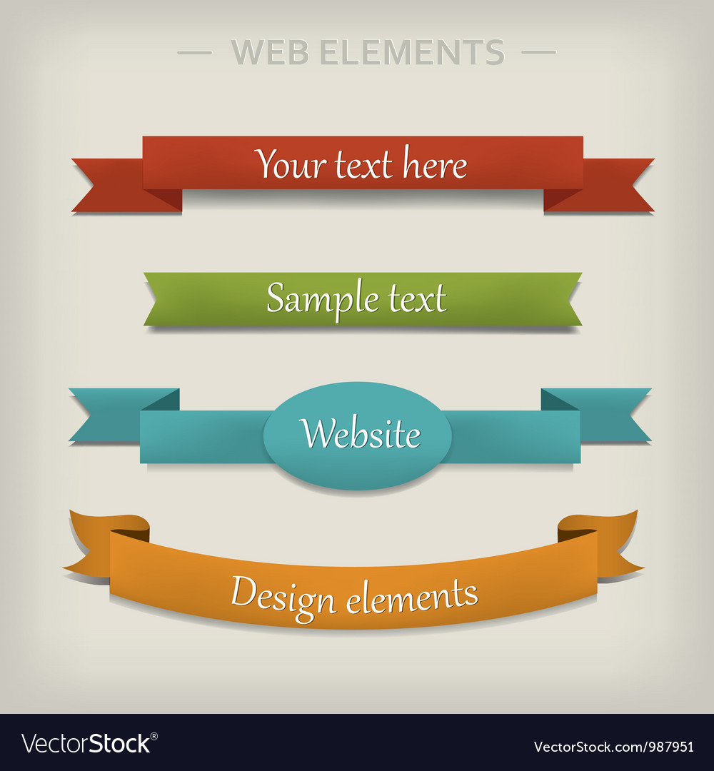 Colored ribbon elements for web