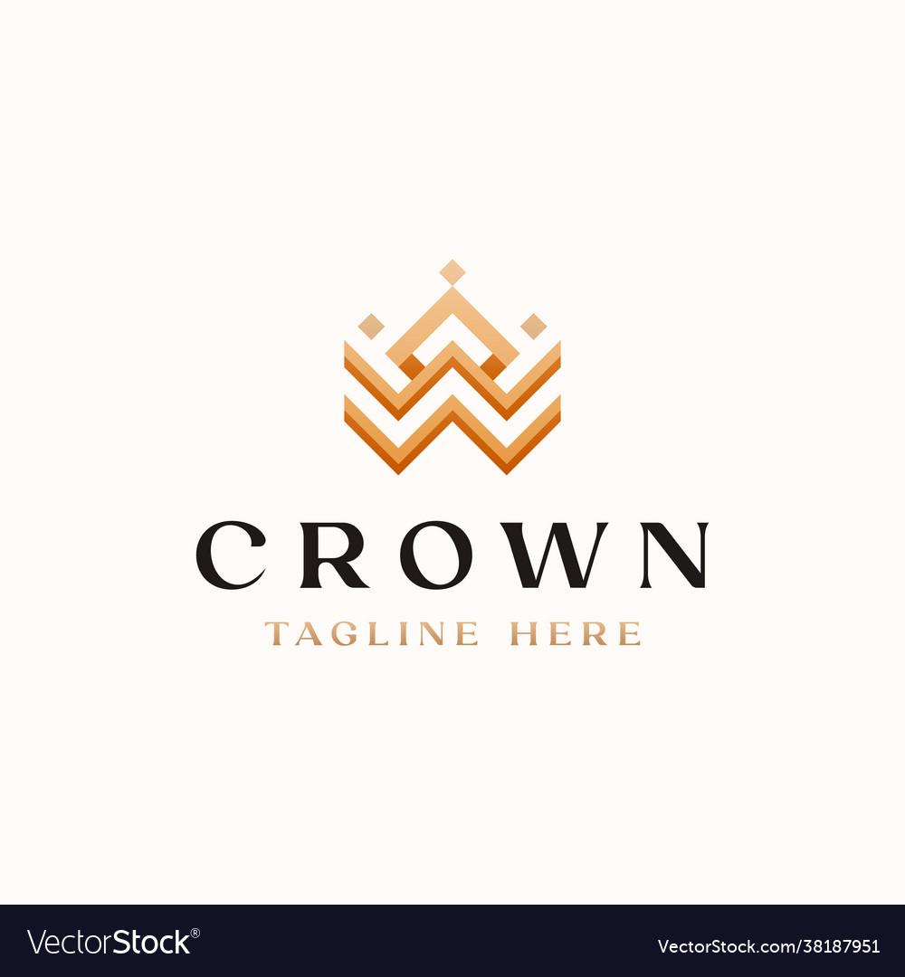 Crown golden gradient color monogram logo
