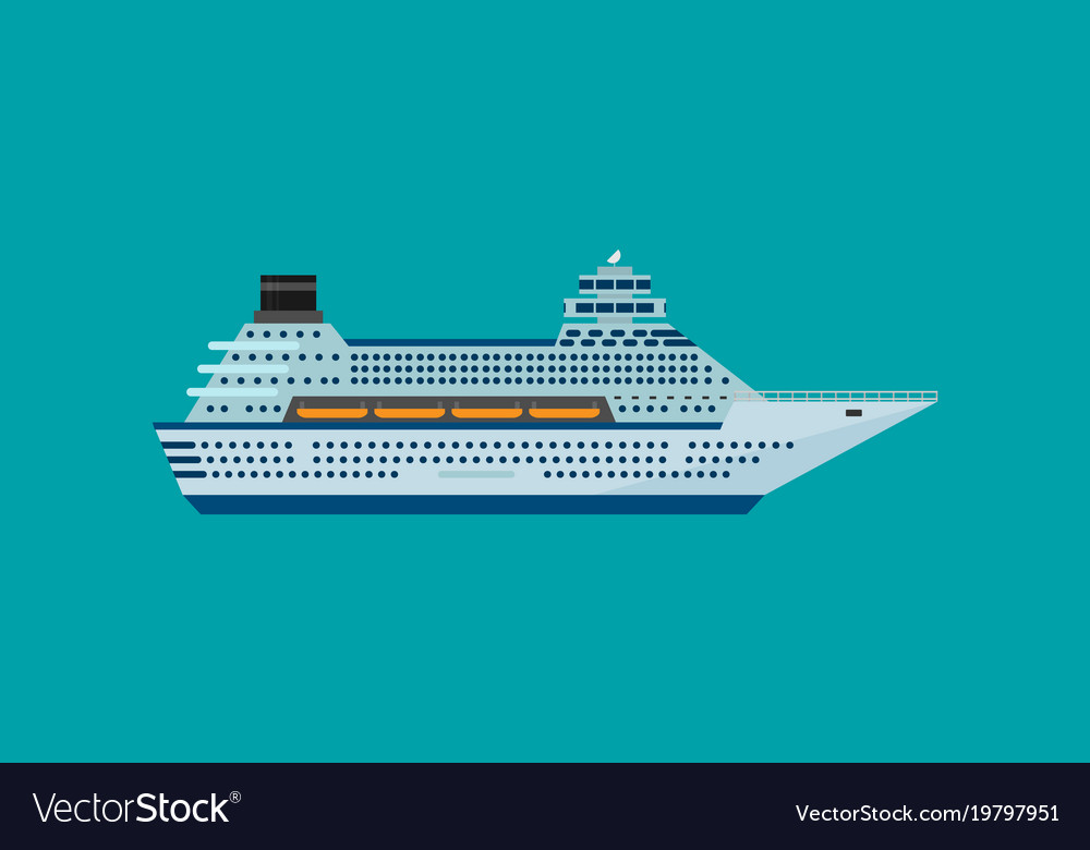 Cruise ship isolated in flat style