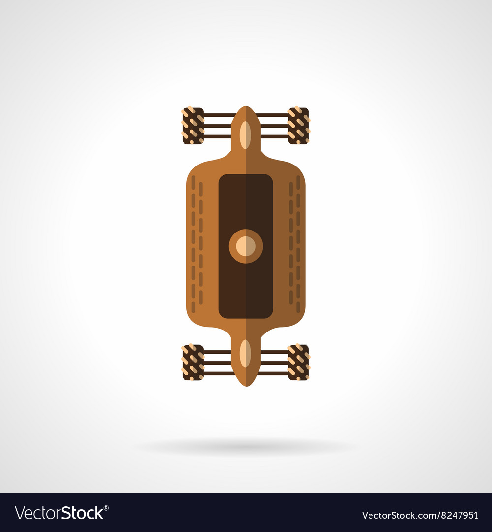 Flat color design longboard icon vector image