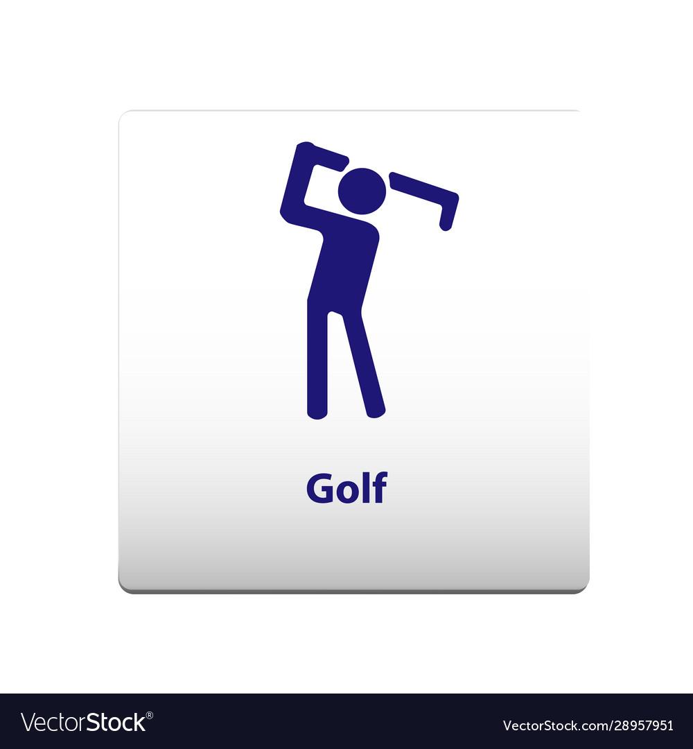 Golf sport symbol stickman solid icon