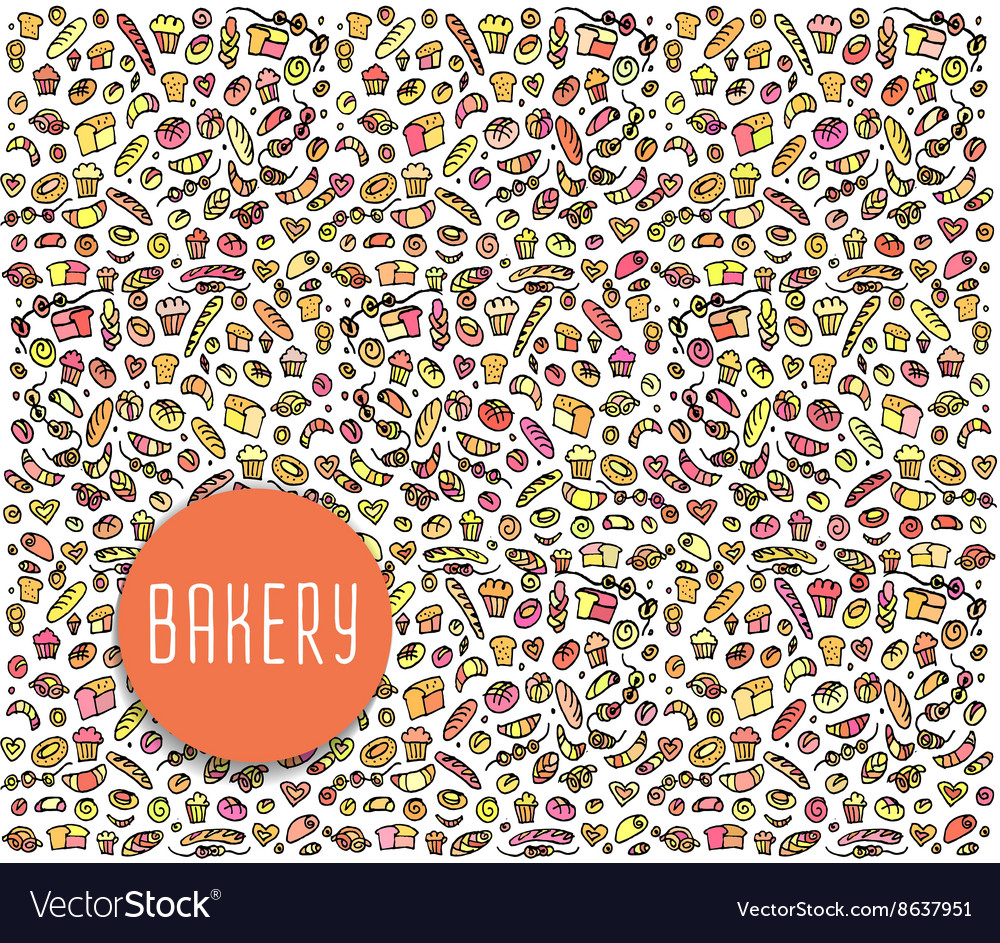 Hand drawn bakery seamless pattern background vector image