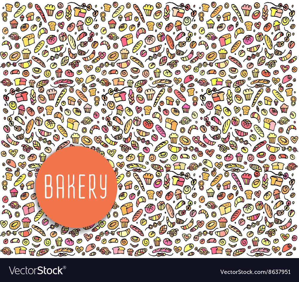 Hand drawn bakery seamless pattern background