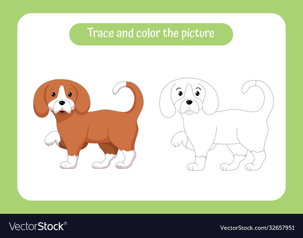 Little puppy trace and color picture children