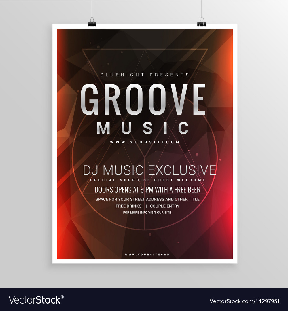 Music party flyer poster event template vector image