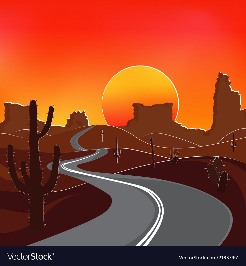 Road In Desert At Sunset Royalty Free Vector Image