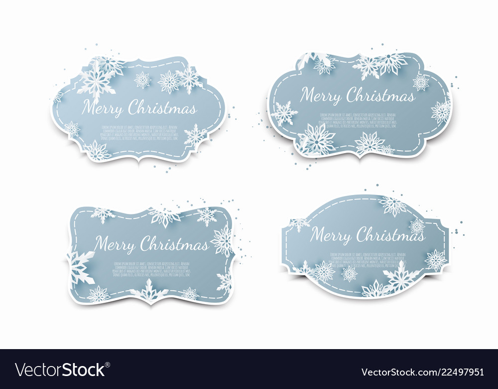 Set of paper tags with blue christmas background
