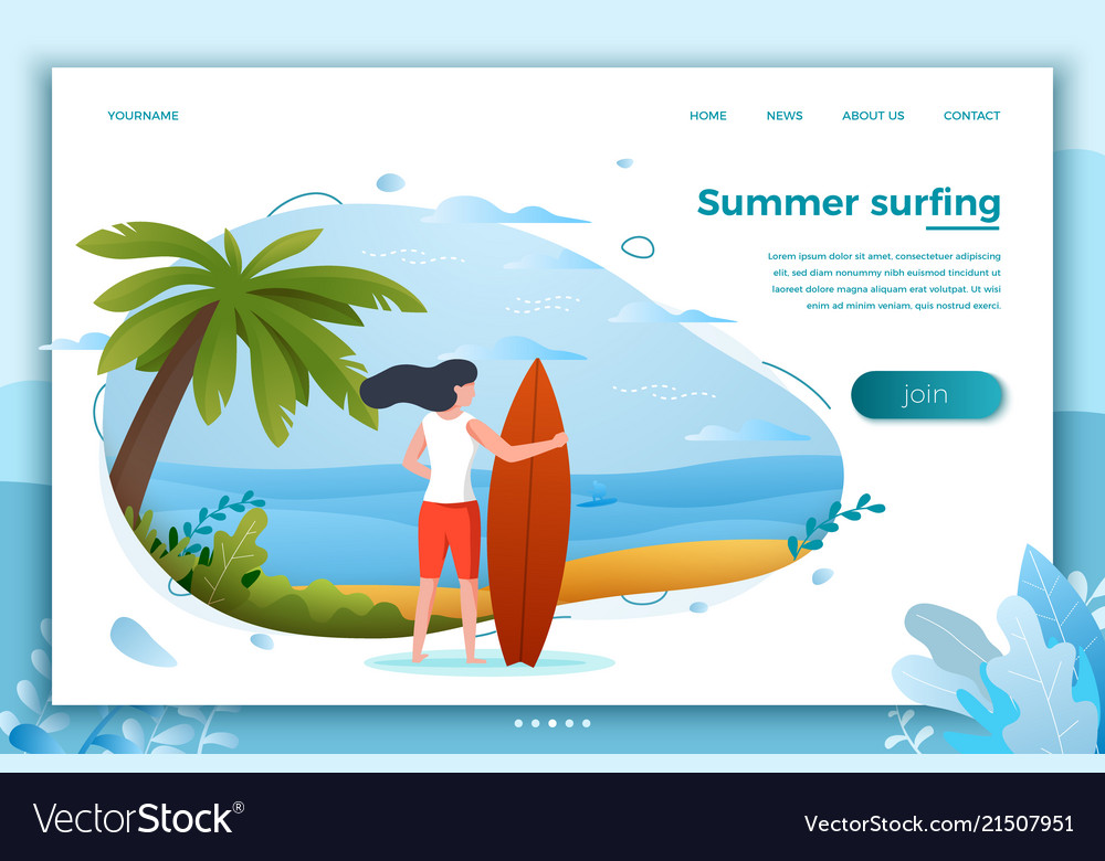 Surfing girl on a beach