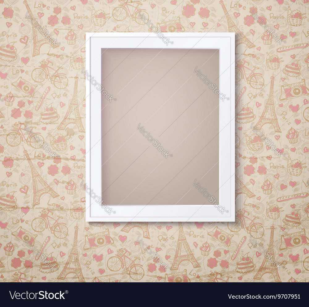 Vintage white photoframe on french fashioned vector image