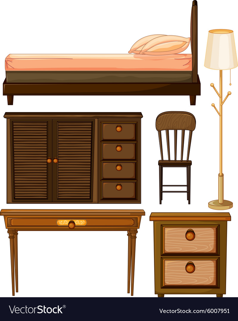 Wooden furniture in classic design vector image
