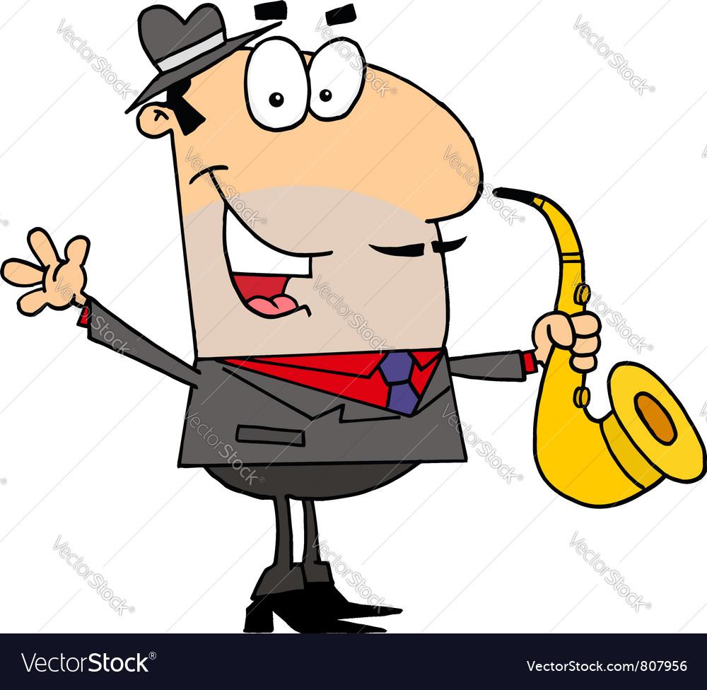 Caucasian Cartoon Saxophone Player Man
