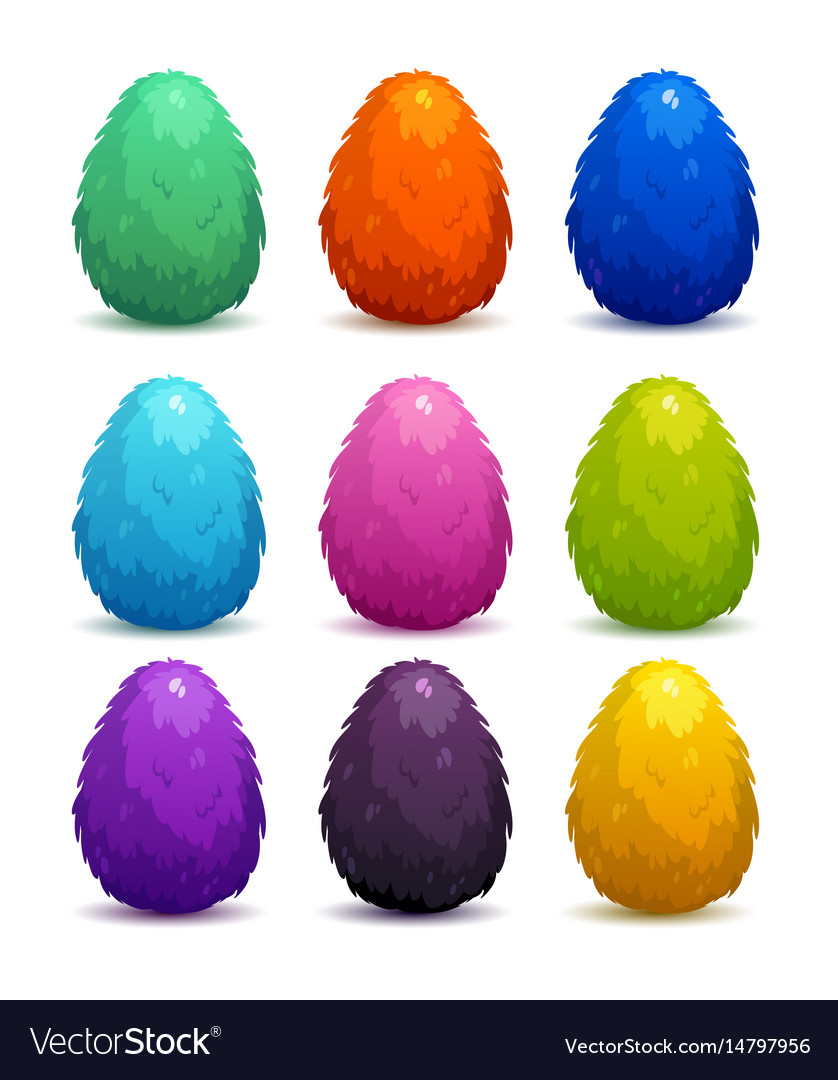 Colorful fantasy fluffy eggs set vector image