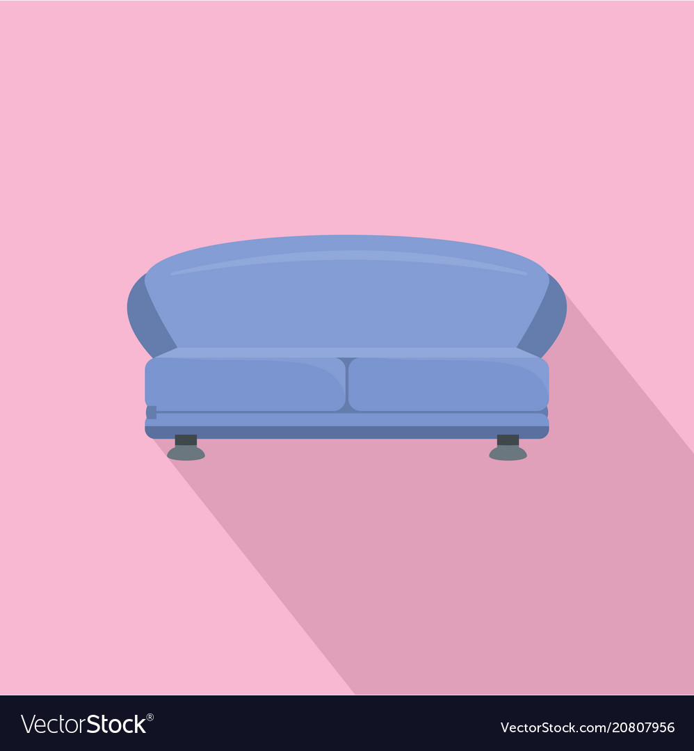 Oval sofa icon flat style vector image