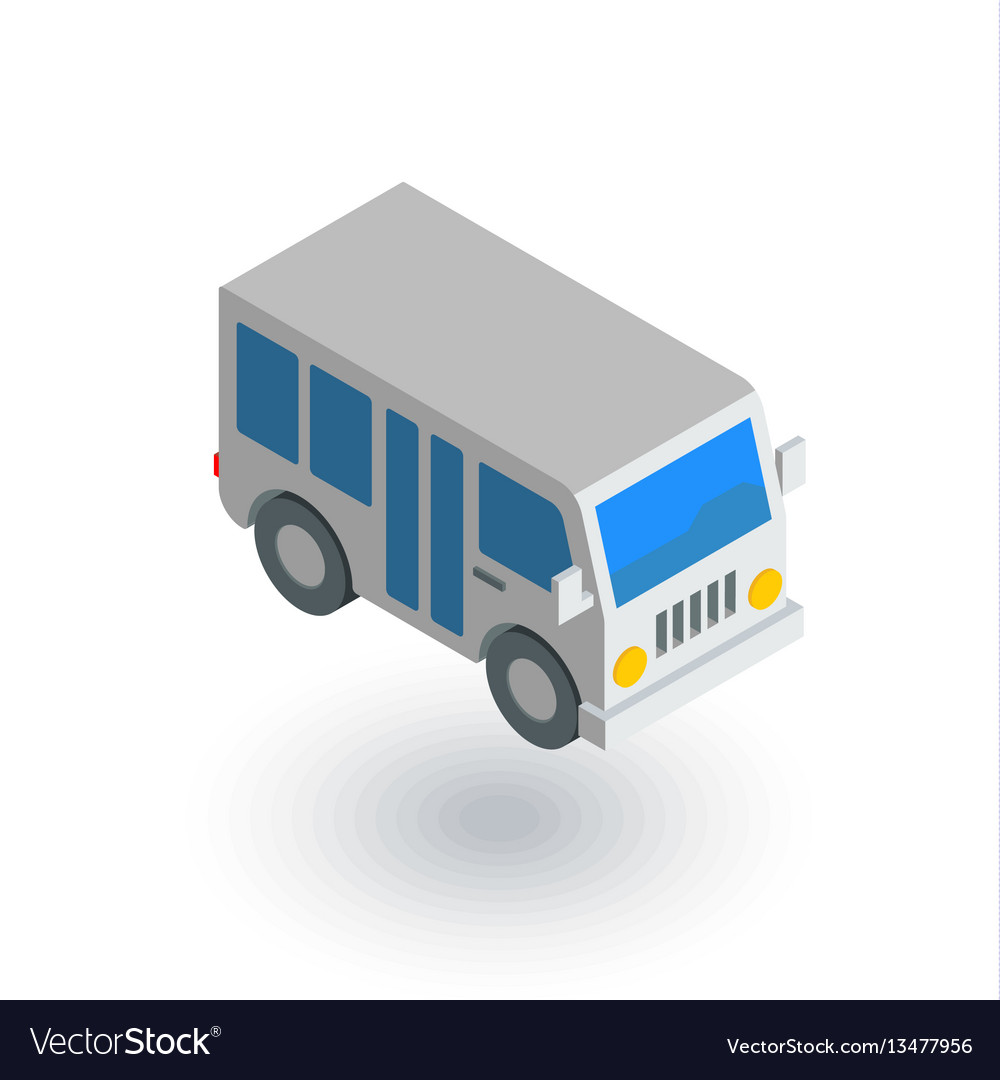 Passenger bus isometric flat icon 3d