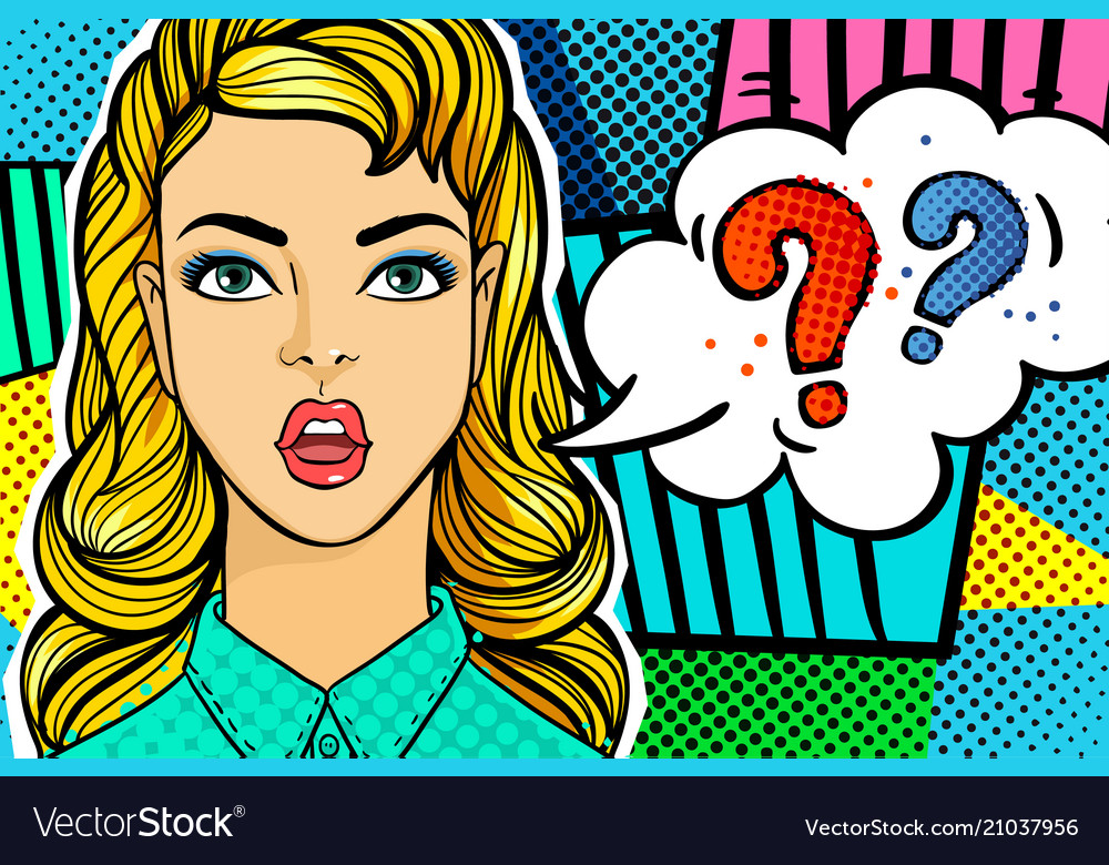 Question sing woman face in pop art style