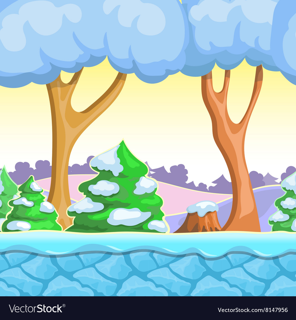 Seamless cartoon winter landscape with