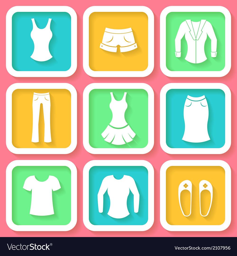 Set of 9 colorful icons of female clothing