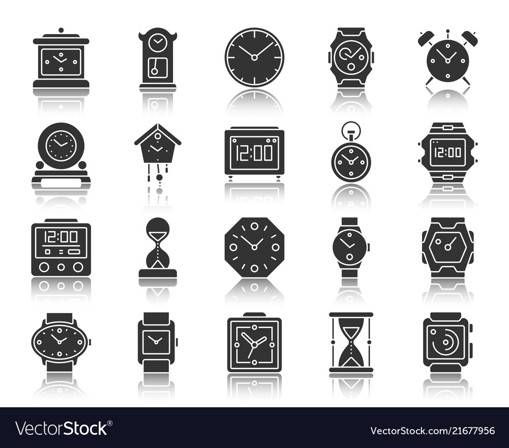 Watch black silhouette icons set
