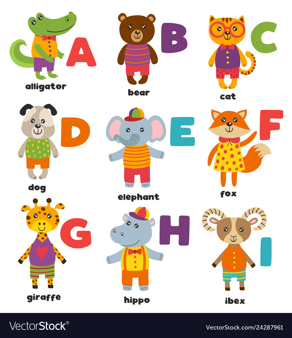 Alphabet with cute animals a to i