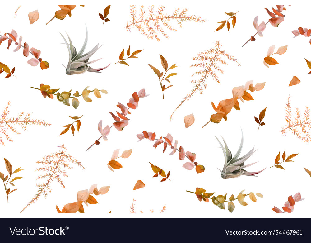 Autumn fall leaves foliage lovely seamless pattern