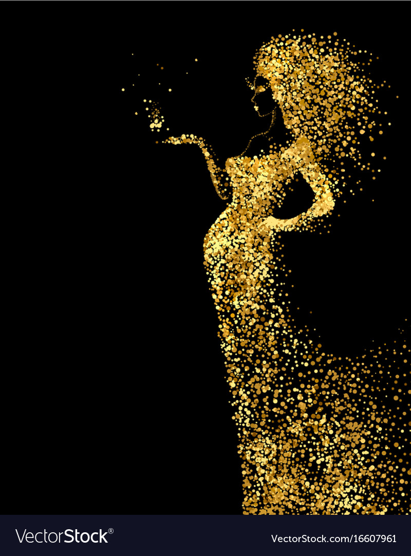 Beautiful woman abstract figure formed by gold vector image
