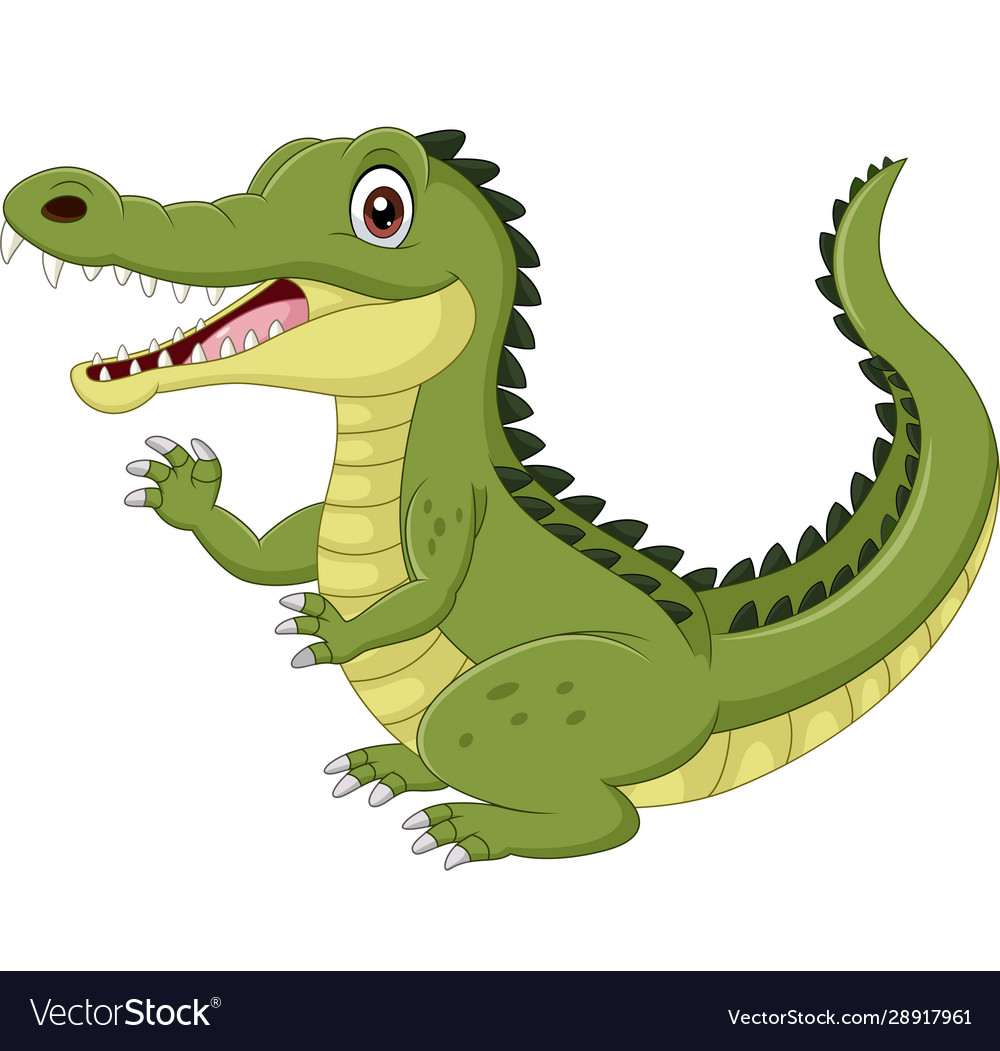 Cartoon funny crocodile waving hand isolated
