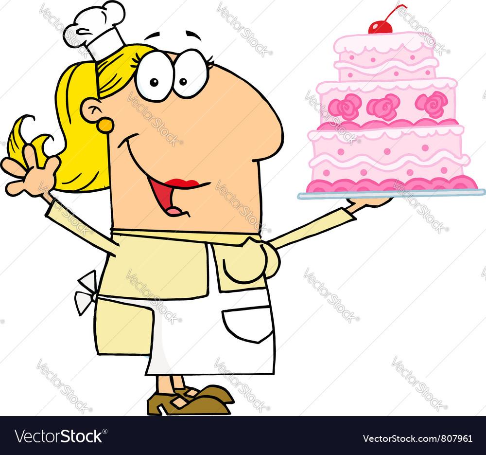 Caucasian Cartoon Cake Maker Woman vector image
