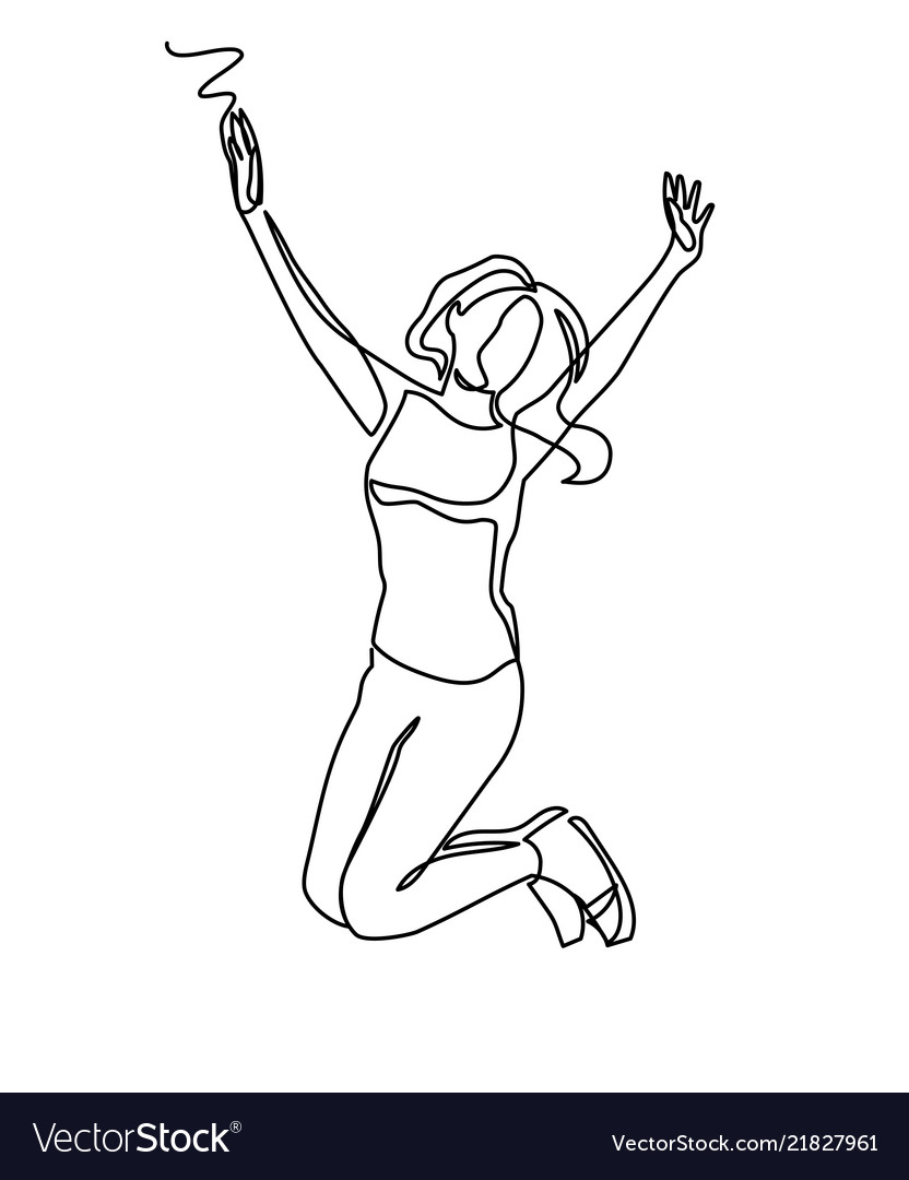 Continuous line drawing of happy jumping woman