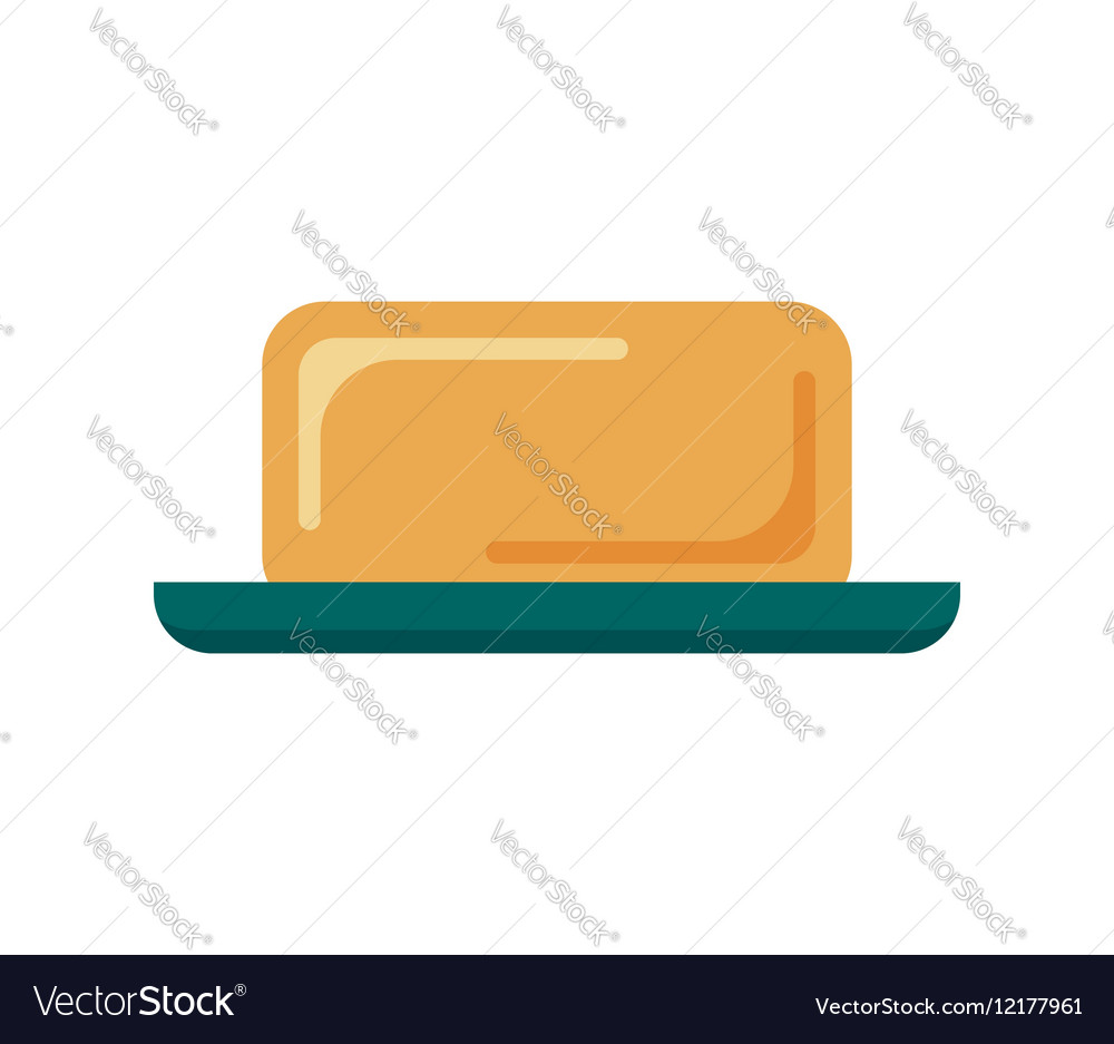 Flat soap with dish isolated on white background vector image