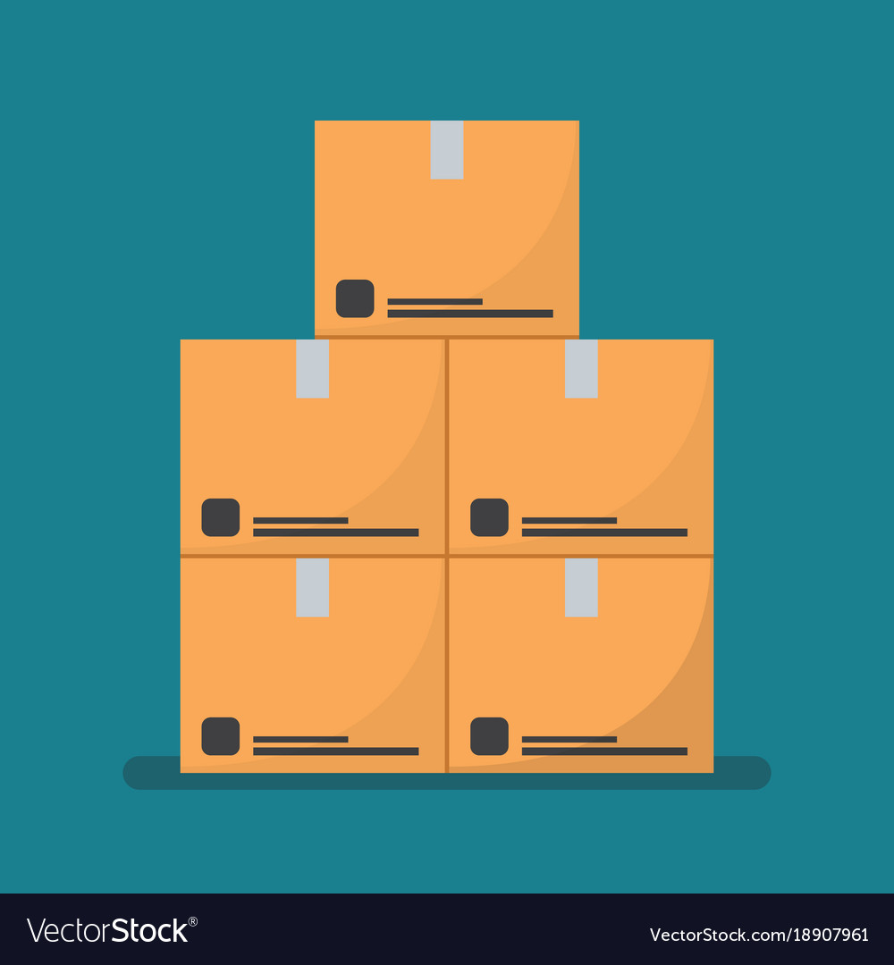 Flat style cardboard boxes vector image