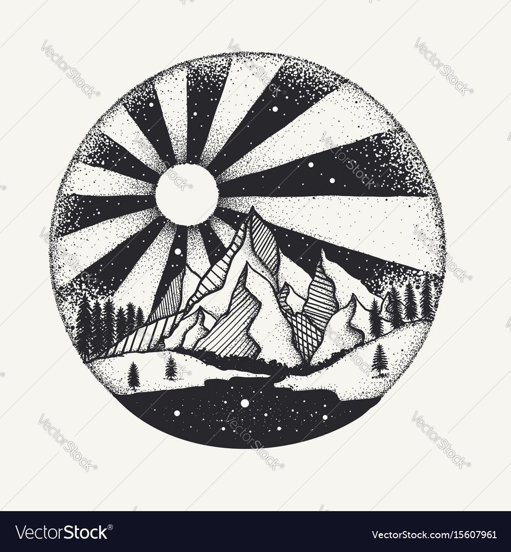 Full moon nigh above mountain dot work vector image