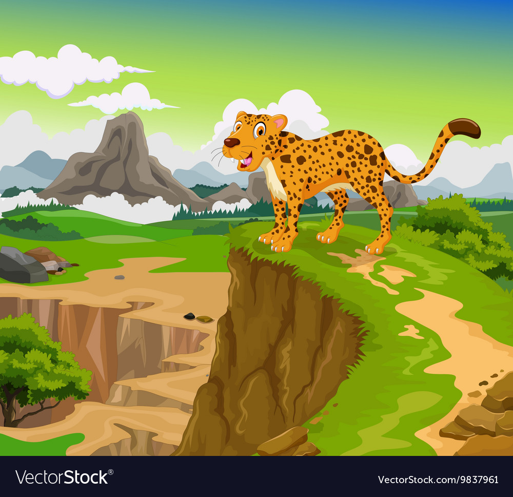 Funny cheetah cartoon with beauty mountain vector image