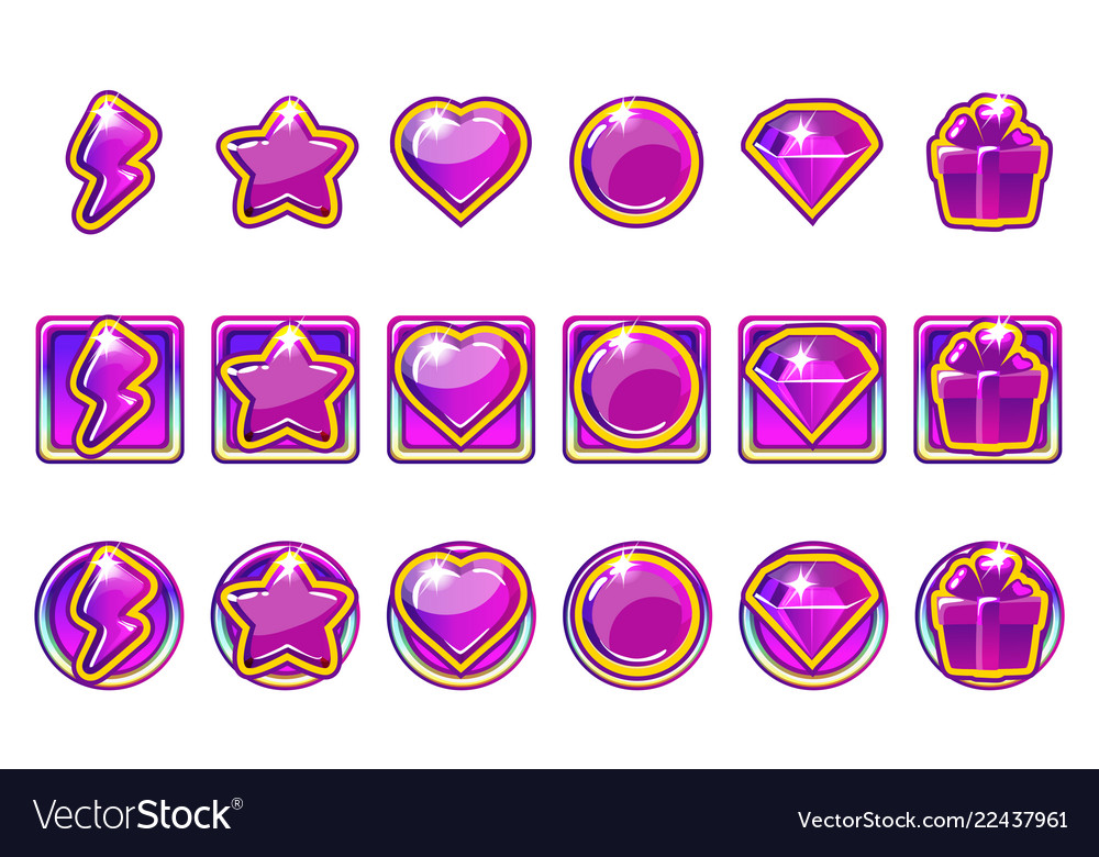 Game app icons set in purple for ui
