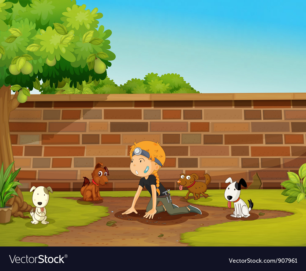 Girl and her dogs vector image