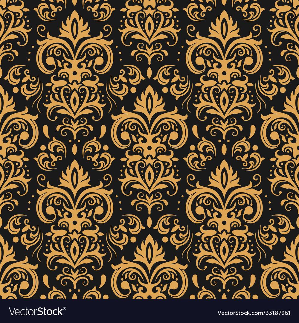 Golden damask pattern vintage ornament and