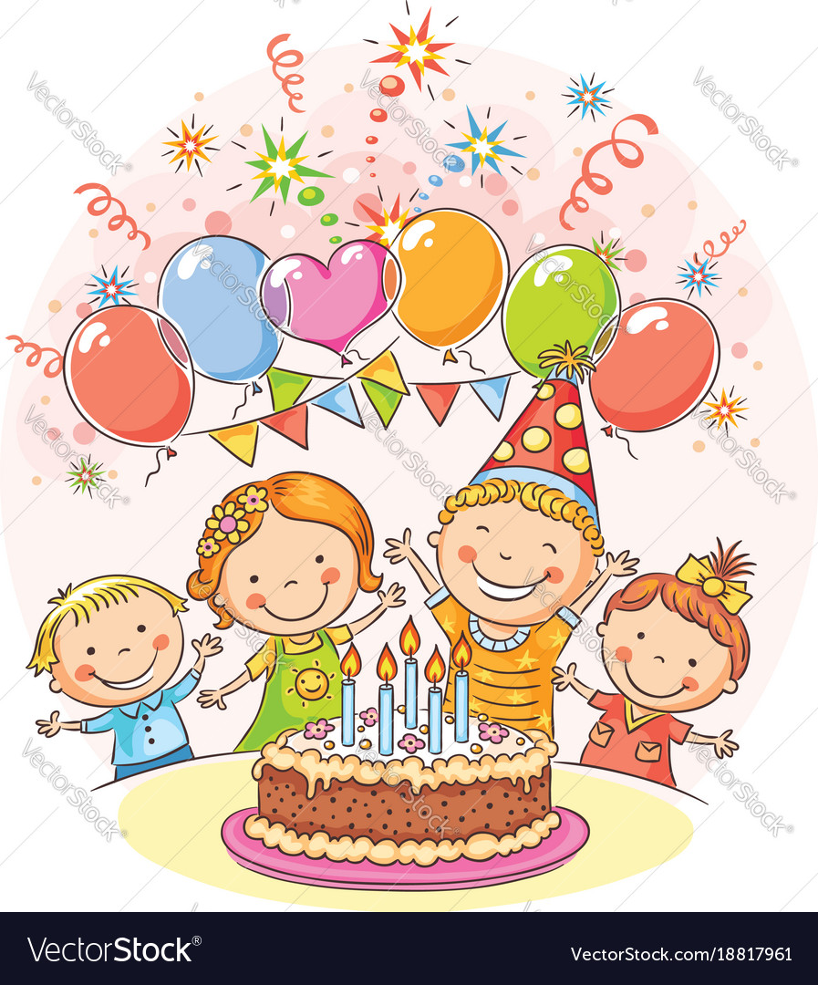 Happy kids at the birthday party Royalty Free Vector Image