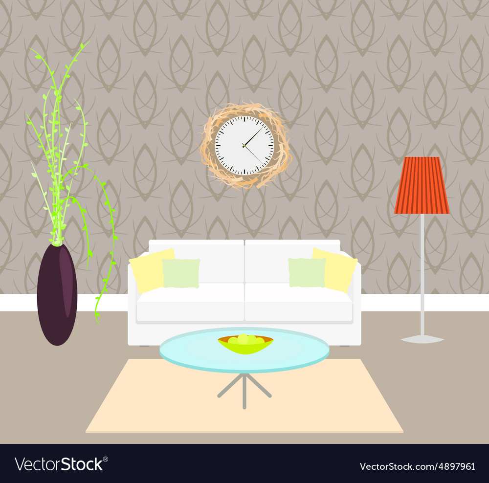 Living room interior with sofa and lamp on the vector image