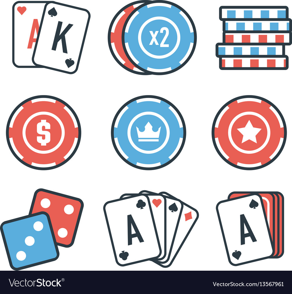 Modern set of colorful gambling and casino icons