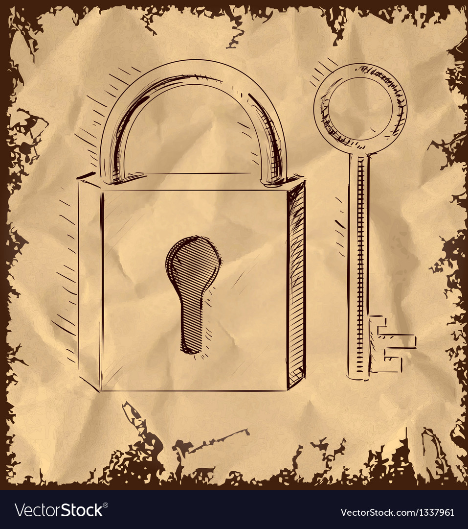 Old key and lock on vintage background