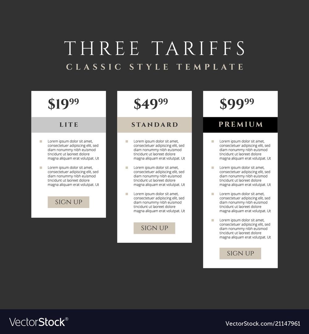 Price list three tariffs for website